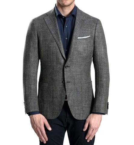 man wearing soft shoulder suit